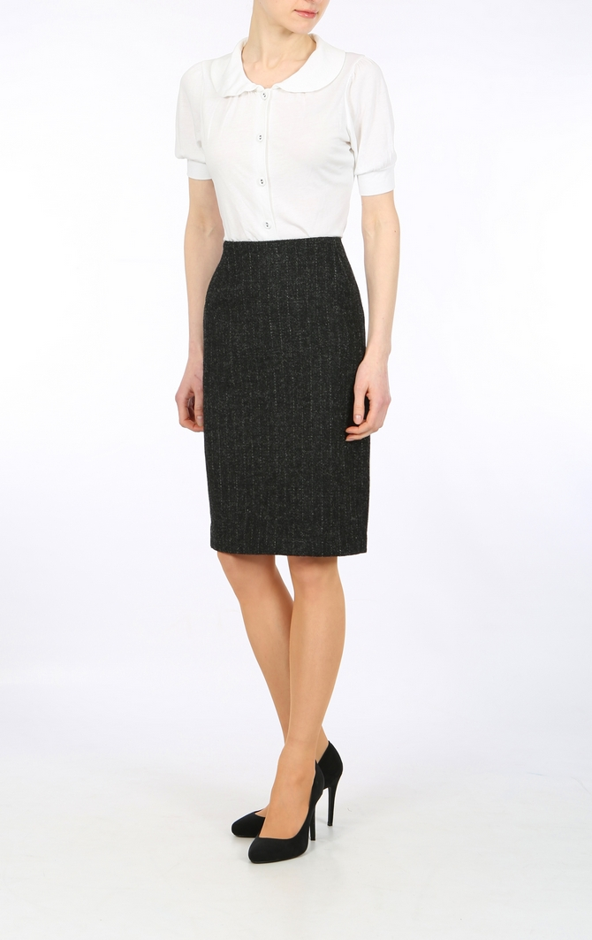 Pinstripe Harris Tweed pencil skirt