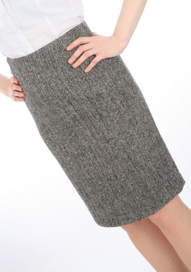Grey Herringbone Harris Tweed pencil skirt