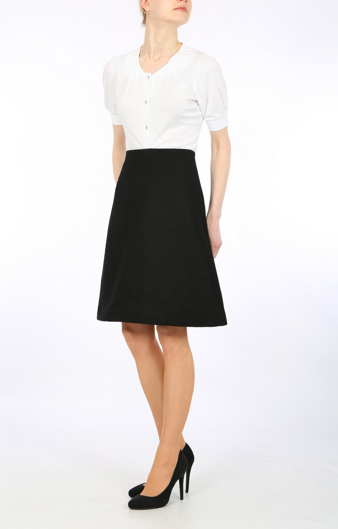 Black Harris Tweed  A-line skirt