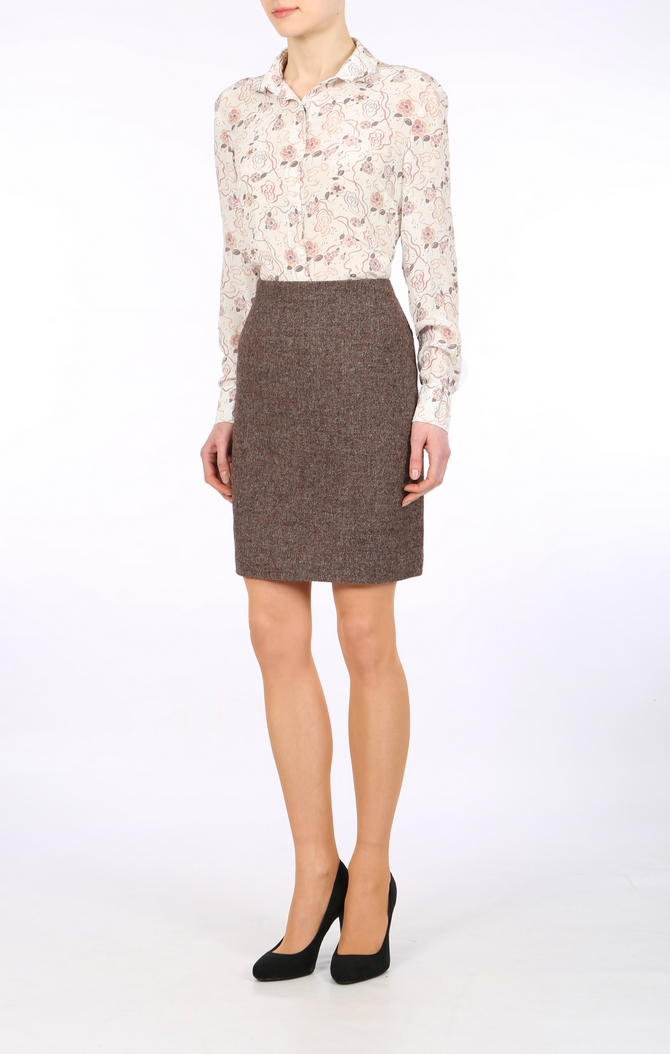 englischer brauner wollener Rock, office skirt, wool skirt, tweed ...