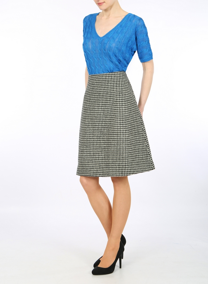 Houndtooth Harris Tweed  A-line skirt