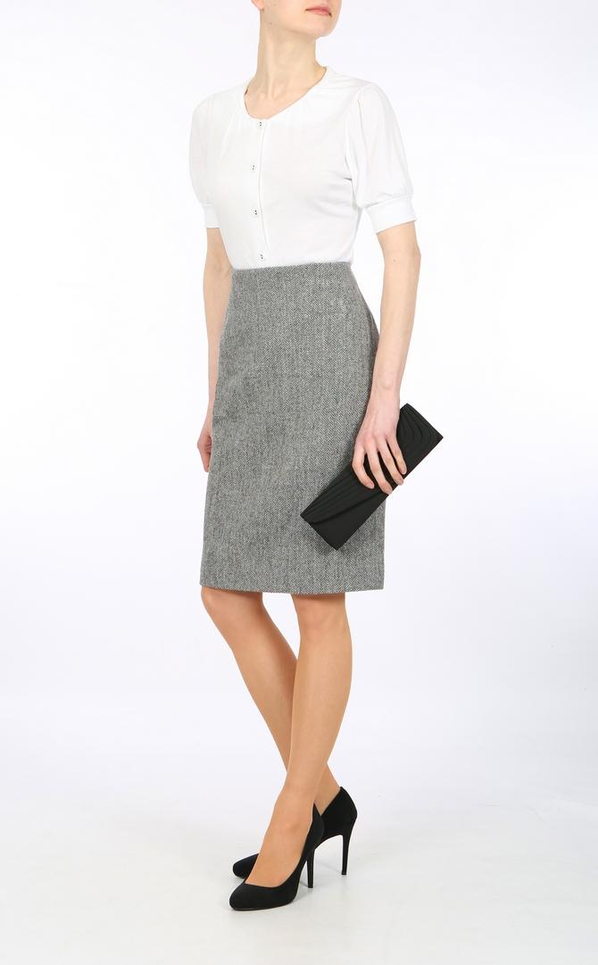 Blue-Grey Herringbone Harris Tweed skirt