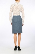 Blue Harris Tweed pencil skirt