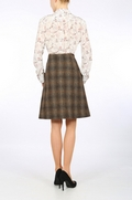 Brown Tartan Harris Tweed A-line skirt